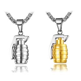 Wholesale Grenade Pendant Steel - Europe and America Trendy Men Necklace Stainless Steel 18K Yellow Gold Plated Grenade Pendant Necklace for Men JNL1052