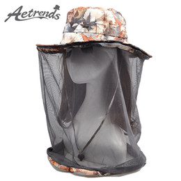 Wholesale Mosquito Gold - Wholesale- [AETRENDS] Net Yarn Anti-Mosquito Sun Hats for Women Men 2017 Summer Hat Travel Sunscreen Cap Z-5092