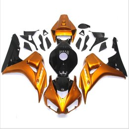 Wholesale Plastic Kit Motorcycle - 3 free gifts For Honda CBR1000RR 06 07 1000RR 2006 2007 ABS Plastic ABS Injection Motorcycle Full Fairing Kit Golden yellow A17