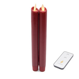 Wholesale Timer Move - 2 Pcs Luminara Flameless Taper Candle with Realistic Moving Wick Led Candle Effect Wine Red wax Candle with Remote Timer for Decoration