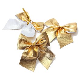 Wholesale L Brooch - Wholesale-24Pcs Ribbon Christmas Decoration Bows Tree Bowknots Festival Party Garden Ornament Brooch Pin Decor