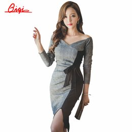 Wholesale Sexy Business Casual Dresses - Wholesale- Qiqi New 2016 Autumn Plaid Patchwork Dress Business Work V-neck Sexy Bow Tunic Bodycon Sheath Casual Pencil Dresses