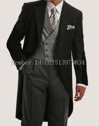 Wholesale Morning Dress Men - Wholesale- 2015 Morning Suit Groom Tuxedos Notch Lapel Groomsmen Men Suits Wedding suit for men's dresses(Jacket+Pants+Tie+Waistcoat)