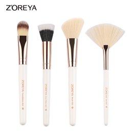 Wholesale Make Up Brushes Zoreya - ZOREYA Brand 2017 New Arrival 4pc Make Up Brushes Set Foundation Blush Fan Duo Fiber Brush As Essential Cosmetics Tool