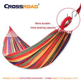 Wholesale Garden Hammock Chairs - Wholesale- NEW indoor hanging chair single 200x100cm High Quality hammock chair double Canvas Portable Outdoor Camping Garden swing&rope