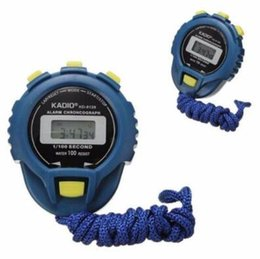 2019 temporizador de funcionamiento Temporizador de cuarzo de Professinal KADIO KD6128 cronógrafo de alarma a prueba de agua cronómetro electrónico corriendo temporizador KD-6128 cronómetro de deportes CCA6804 200pcs rebajas temporizador de funcionamiento