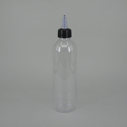 Wholesale wholesale clear plastic water bottles - 250ml clear plastic squeeze bottle for liquid water cosmetics bottle with black long thin tip twist cap