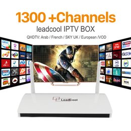 Wholesale Tv Channel Wholesale - 20PCS Lot IPTV Streaming Box Leadcool Android Wifi 1G 8G Italy Portugal French Channels Receiver Europe Arabic Sky IPTV Package Include