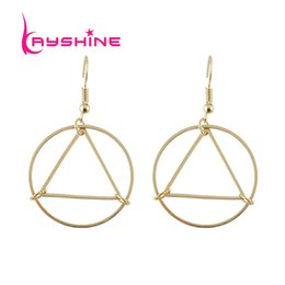 Wholesale Earring Big Triangle - Big Gold-Color Earrings Punk Rock Style Triangle Circle Statement Drop Earrings for Women Minimalist Jewelry