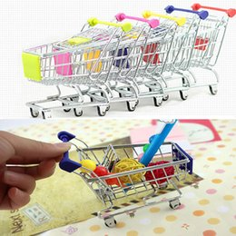 Wholesale Mini Shopping Carts Wholesale - Mini Supermarket Handcart Shopping Utility Cart Mode Storage Basket Desk Toy New Collection Free DHL In Stock WX-C27