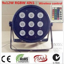 Wholesale Stage Lights Led Can - 2017 Wireless remote control LED Par CREE 9x12W 4in1 RGBW Led Stage Light LED Flat SlimPar Quad Can With DMX512 Flat DJ