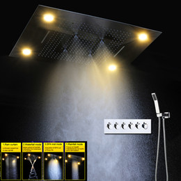 Wholesale Shower Head Unit - Bath & Shower Faucets Rainfall Waterfall Big LED Shower Set With Brass Hand Showers High Flow Rain Bath Unit Shower Faucet Sets
