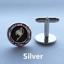 Wholesale Cuff Links Studs - 1pair Fairy Tail ear nail Inspired Cuff Links jewelry glass cufflinks stud Cabochon Post