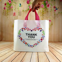 Wholesale Transparent Pouch Gift - 50pcs plastic gift bags smile thank you color Flower Printed Heart Shape Transparent Clear plastic Pouches for jewelry Clothes gift