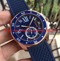 Wholesale Calibre Digital - Men's Sport Watch High Quality Asia Calibre Diver Blue Rubber Band Automatic Movemen Men's Watch WGCA0010 Rose Gold Mens Wrist Watches