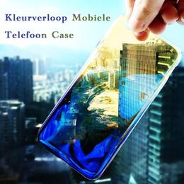 Wholesale Blu Packaging - Luxury Blu-ray Gradient kleur Transparant Telefoon Gevallen Achterkant Voor for iPhone 7 Plus 6splus Phone Case Hard PC Case with Package