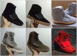 Wholesale Gray Leather Boots Women - 2017 Newest Kanye West 750 Boost Brown Gum Glow In The Dark Black Gray Red Shoes Sneakers Men&Women Sports Boots Size 36-46