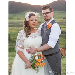 Wholesale Transparent Neck Wedding Dress - Plus Size Garden Style A Line Wedding Dress Princess 2017 New Tulle Half Sleeve Lace Pregnant Bridal Gowns Custom Made Romantic Transparent