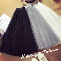 Wholesale Jupe Tutu Femme - Tulle Skirts Womens 2017 Summer Fashion High Waist Lace Mesh Pleated Long Skirt Elastic Sun Fluffy Tutu Skirt Jupe Longue Femme