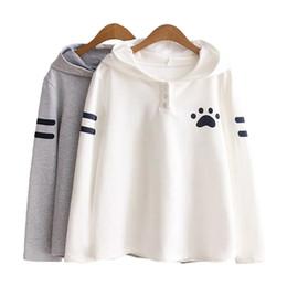Wholesale Hoodies Cat Ears - New Fashion Japanese Style Spring Autumn Girls Sweatshirt Cat Ears Claw Marks Print Long Sleeve Women Hoodie