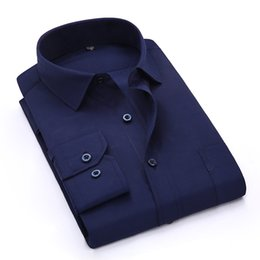 Wholesale Wholesale Dress Shirt Fabric - Wholesale- Spring Summer 2017 Men's Navy Blue Long Sleeve Work Shirt One-Pocket Plain twill Fabric Available Business Formal Dress Shirts