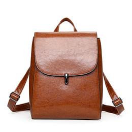 Wholesale Back School Backpacks - 2017 PU Leather Women Backpack Fashion Travel Back Packs High Quality Backpacks For Teenage Girls Black Casual Travel School Bag