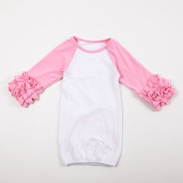 Wholesale Nightgown Red - Hot Sale Solid Color Infant Girl Gowns Ruffle Cotton Reglan Gown Long Sleeves Colourful 0-24 Months