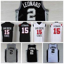 Wholesale Dry Goods - Discount 2 Kawhi Leonard Basketball Jerseys Men San Diego State College 15 Kawhi Leonard Jersey Black Gray White Embroidery Good Quality