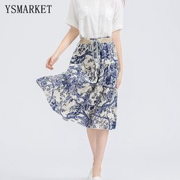 Wholesale Chinese Swing - 2017 Women Summer Chinese Print Linen Skirt Loose Slim Boho Midi Skirt Lace up Swing Stretch Casual A Line Belt Skirts H1126