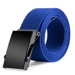 Wholesale Womens Waist Belts - Wholesale- Fashion Unisex Mens Womens Automatic Buckle Long Canvas Belt Casual Waistband Army Tactical Waist Belts 5 Colors