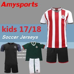 Wholesale Kids Football Uniforms Set - Kids Kits Mexico Club Camiseta de futebol 2017 Chivas de Guadalajara Youth Boy Soccer Jerseys 17 18 sets with Shorts uniform Football Shirts