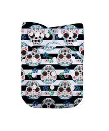 Wholesale Diapers Skulls - Halloween Skull LilBit 2 Pcs Bamboo Charcoal Inserts and One Washable Pocket Cloth Baby Diaper