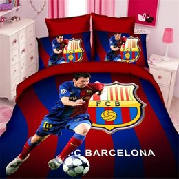 Wholesale Kids Pillow Cases - Wholesale-soccer star kids bedding set of twin single size duvet cover bed sheet pillow case 2 3pcs bed linen set