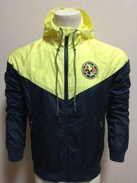 Wholesale Wind Windbreaker Jacket - top quality 17-18 LIGA MX Club America rugby jacket yellow Windbreaker long sleeves Hooded jacket size S-XL