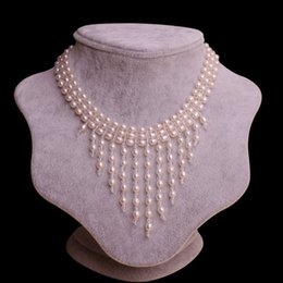 Wholesale Crystal Chokers For Brides - Natural fresh water pearl choker necklace with crystal tassels for evening party & bride wedding celebrating