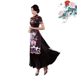 Wholesale Vintage Chinese Embroidery - Summer dress Audrey cheongsam party dresses 2017 short sleeve plus size women clothing vintage chinese style bodycon evening dresses