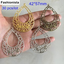Wholesale Wholesale Bronze Jewels - 30 pcs Big Waterdrop Charms,Hollow Metal Stamping Filigree Charms For Jewel Making,42*57mm Gold-color,Silver-color,Bronze