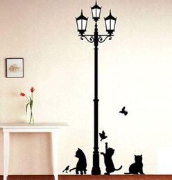 Wholesale Plastic Lamp Pieces - Free Shipping Popular Ancient Lamp Cats and Birds Wall Sticker Wall Mural Home Decor Room Kids Decals Wallpaper