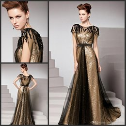 Wholesale Pink Net Dress - Amazing Golden Evening Dresses Bateau Cap Sleeves Empire Waist Formal Party Gown Sequins Beaded Black Net Sweep Train Beling Prom Dresses