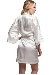 Wholesale Orange Pajamas Women - Wholesale- Fashion Silk Bridesmaid Bride Robe Sexy Women Short Satin Wedding Kimono Robes Sleepwear Nightgown Dress Woman Bathrobe Pajamas