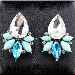 Wholesale Sweet Tins - Women's fashion earrings New arrival brand sweet metal with gems stud crystal earring for women girls E379 381 382 397
