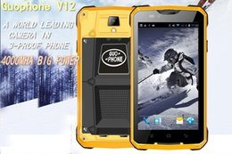 Wholesale Shockproof Phone Gps - GUOPHONE V12 Android 4.4 Smartphone Waterproof Dustproof Shockproof 5Inch MTK6572 Dual Core 1.3GHZ 4000mAh 3G GPS Mobile Phone