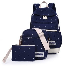 Wholesale Korean Book Bags - Wholesale- 3Pcs Sets Korean Casual Women Backpacks Canvas Book Bags Preppy Style School Back Bags for Teenage Girls Composite Bag Navy Blue