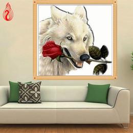 2019 mosaicos de rosas Promoción DIY 5D Diamond Embroidery Wolf lleva las rosas Round Diamond Painting Kit de punto de cruz Mosaic Painting Home Decor mosaicos de rosas baratos