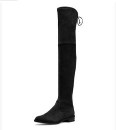 Wholesale Warm Tall Winter Boots - Wholesale- Nubuck Leather Thigh High Boots Long tall Elastic faux suede over the knee flat heel winter warm spring bootie plus size 35-40