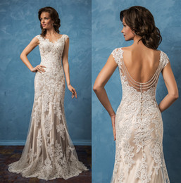 Wholesale Dress Embellishments - backless mermaid wedding dresses 2017 amelia sposa bridal gowns cap sleeves v neck full embellishment elegant wedding gowns chapel train