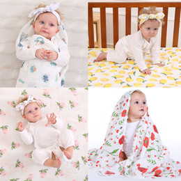 Wholesale Cotton Crib Blankets - Baby 100% Cotton Blanket + Headband Sets Lemon Flower Chick Kids Swaddle Baby Toddler Bed Sheets +Hairband