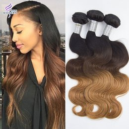 Wholesale 27 Pieces Human Hair - 8A Brazilian Virgin Hair Body Wave Ombre Human Hair Bundles Three Color 1b 4 27 Brazilian Remy Human Hair Weaves Body Wave 3 Bundles