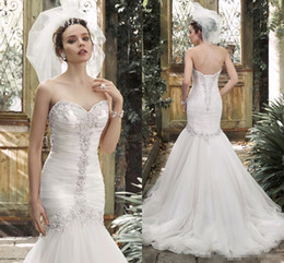 Wholesale Diamond Backed Wedding Dress - Fairy Sexy 2016 Crystals Mermaid Wedding Dresses Rhinestones Luscious Pearls Diamonds Wedding Gowns Pleats Sweetheart Lace-up Back
