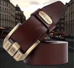 Wholesale Fancy Belts - 100% Pure Cowhide Genuine Leather Belts For Men Brand Strap Male Pin Buckle Fancy Men's Retro Belt
